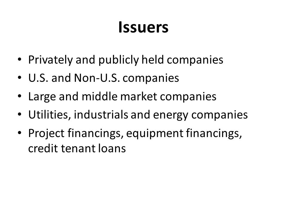 Issuers Privately and publicly held companies U.S.