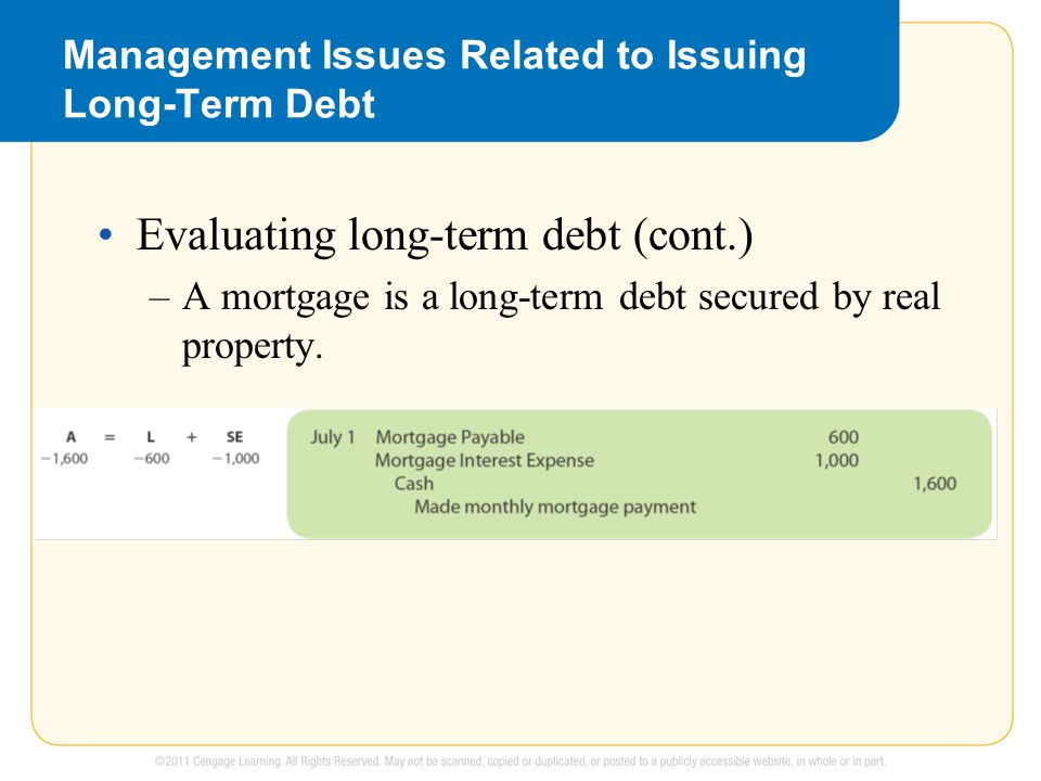 Management Issues Related to Issuing Long-Term Debt Evaluating long-term debt (cont.) –A mortgage is a long-term debt secured by real property.