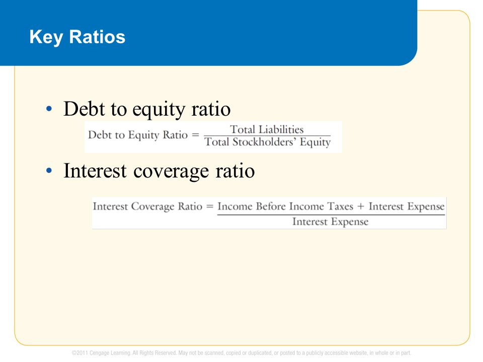 Key Ratios Debt to equity ratio Interest coverage ratio