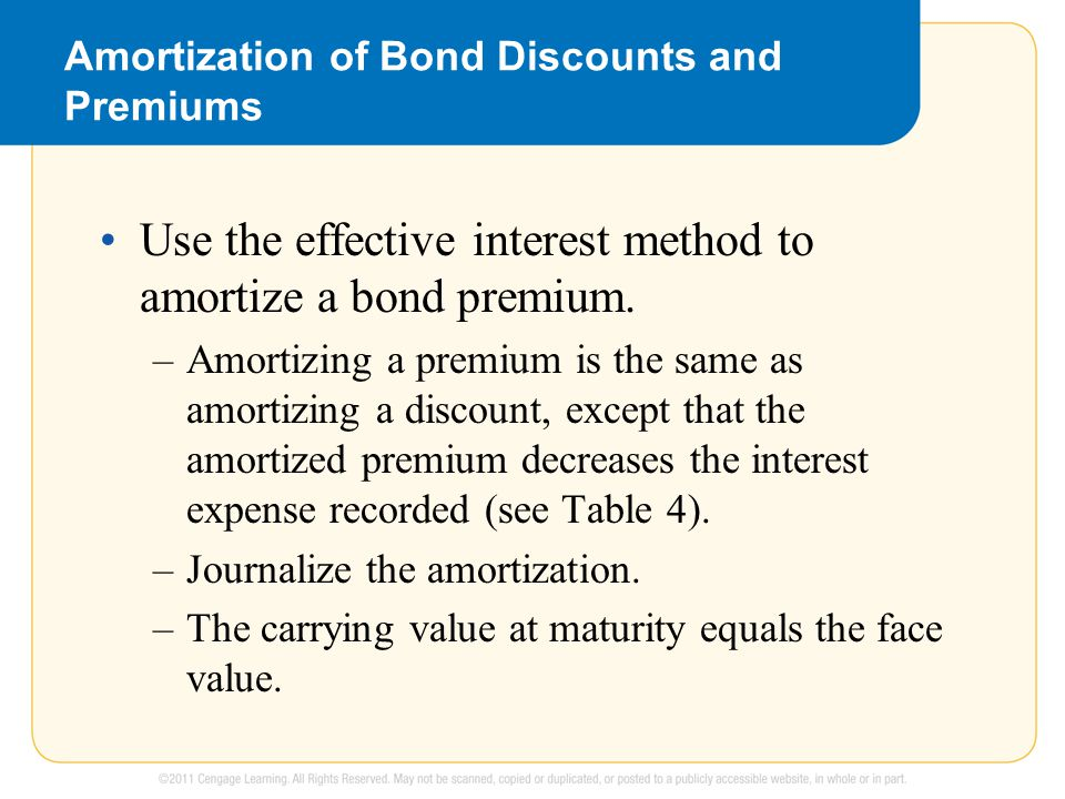 Amortization of Bond Discounts and Premiums Use the effective interest method to amortize a bond premium.