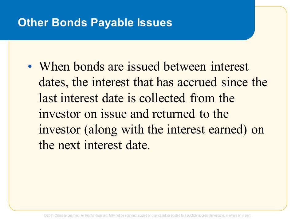 Other Bonds Payable Issues When bonds are issued between interest dates, the interest that has accrued since the last interest date is collected from the investor on issue and returned to the investor (along with the interest earned) on the next interest date.