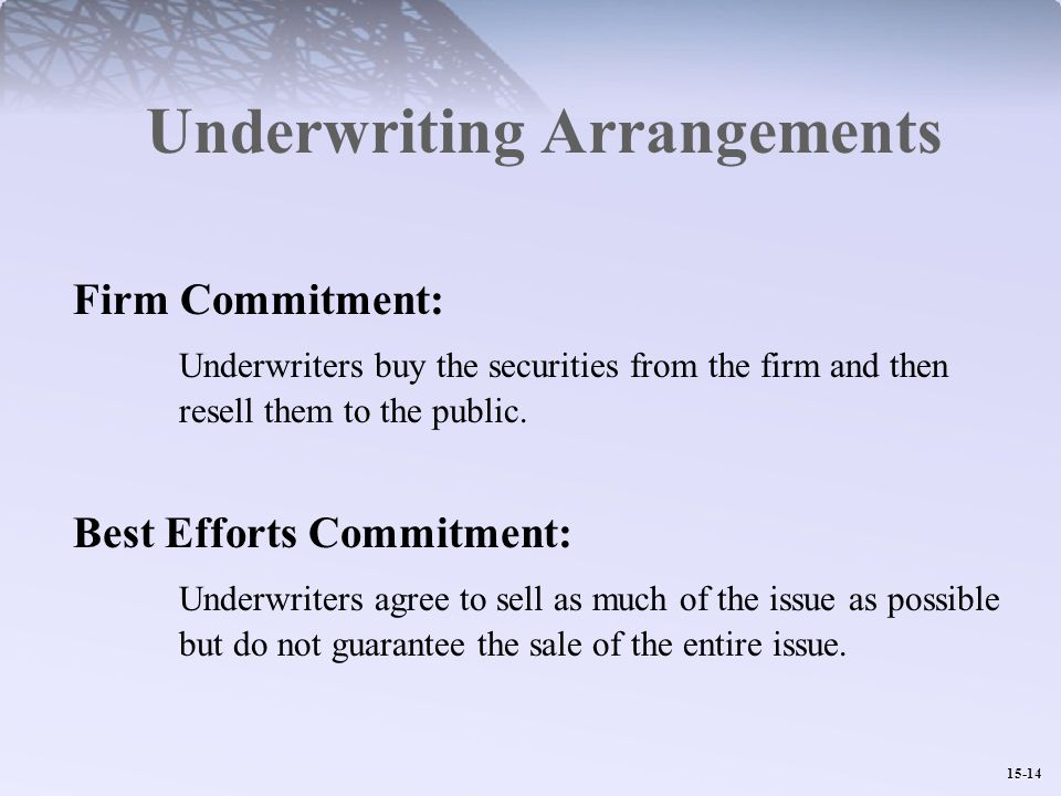 15-14 Underwriting Arrangements Firm Commitment: Underwriters buy the securities from the firm and then resell them to the public.