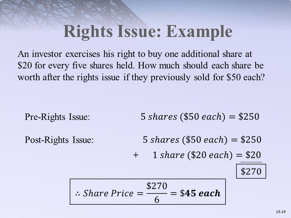15-19 Rights Issue: Example An investor exercises his right to buy one additional share at $20 for every five shares held.