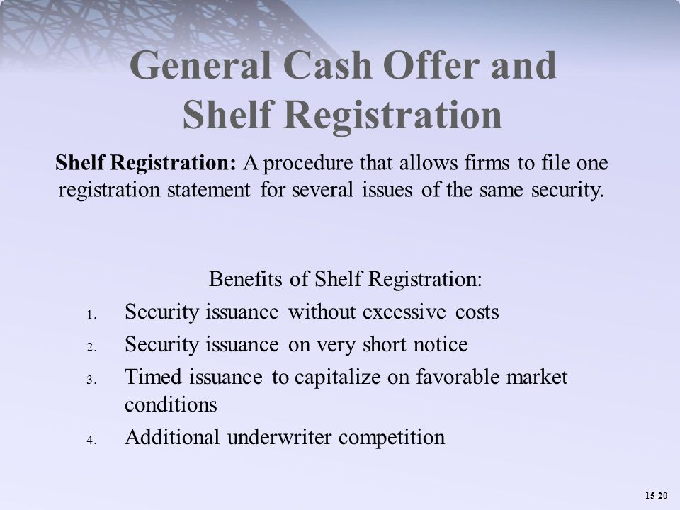 15-20 General Cash Offer and Shelf Registration Benefits of Shelf Registration: 1.