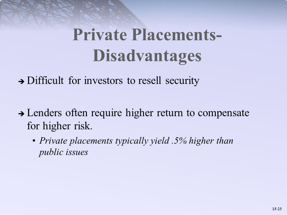 15-23 Private Placements- Disadvantages  Difficult for investors to resell security  Lenders often require higher return to compensate for higher risk.