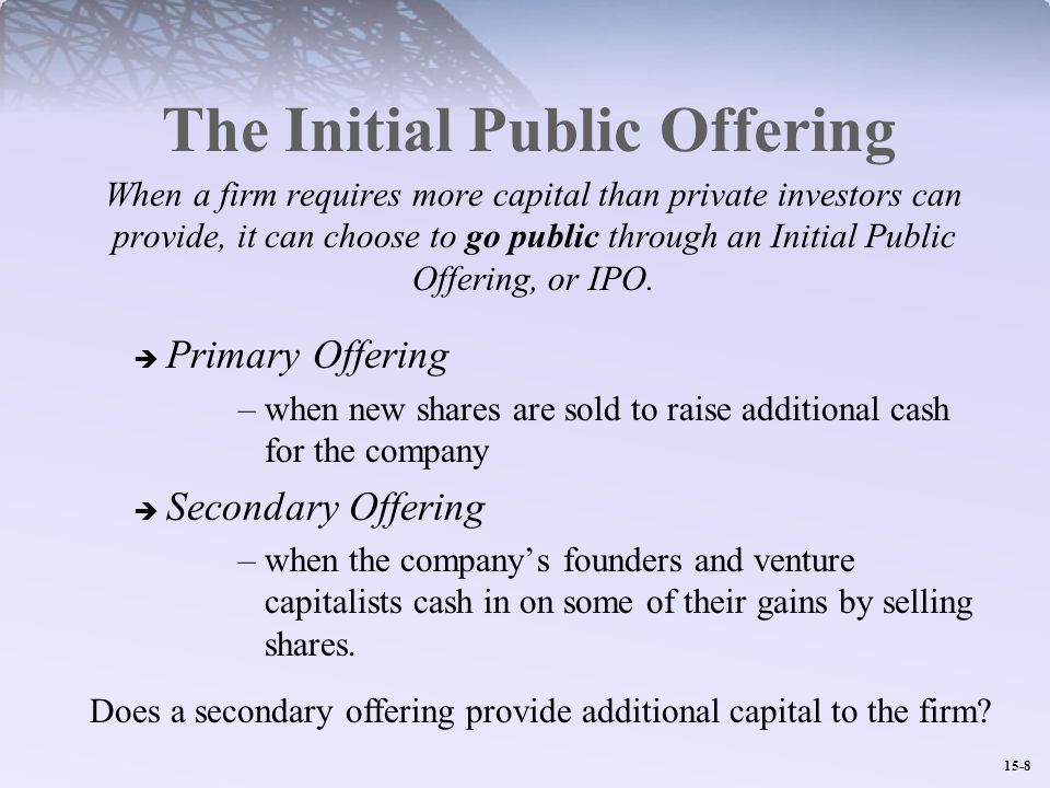 15-8 The Initial Public Offering When a firm requires more capital than private investors can provide, it can choose to go public through an Initial Public Offering, or IPO.