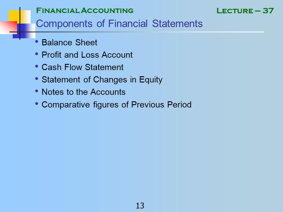 Financial Accounting 12 Lecture – 37 Financial Statements of Limited Companies In Pakistan Financial Statements of limited companies are prepared in accordance with: International accounting standards adopted in Pakistan.