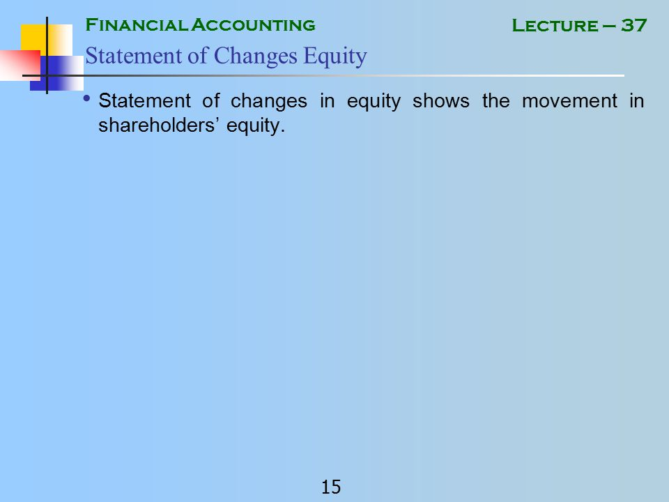 Financial Accounting 14 Lecture – 37 Equity EQUITY Total of capital, reserves and undistributed profit OR Total of shareholders fund in the company.