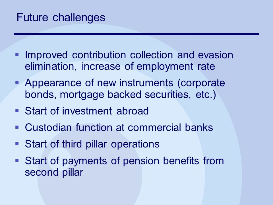 Future challenges  Improved contribution collection and evasion elimination, increase of employment rate  Appearance of new instruments (corporate bonds, mortgage backed securities, etc.)  Start of investment abroad  Custodian function at commercial banks  Start of third pillar operations  Start of payments of pension benefits from second pillar