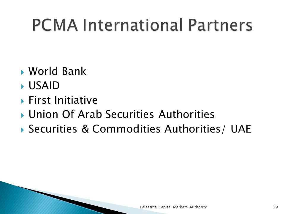  World Bank  USAID  First Initiative  Union Of Arab Securities Authorities  Securities & Commodities Authorities/ UAE Palestine Capital Markets Authority29