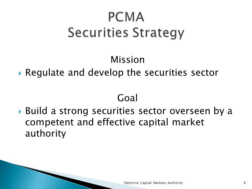 Mission  Regulate and develop the securities sector Goal  Build a strong securities sector overseen by a competent and effective capital market authority Palestine Capital Markets Authority8