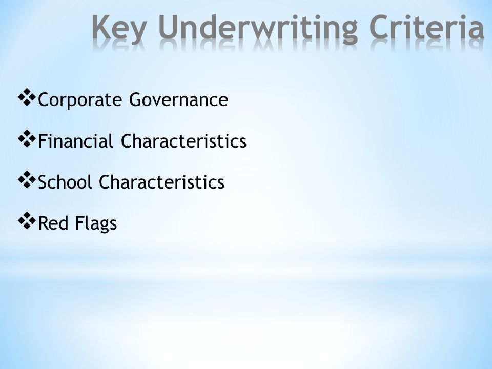  Corporate Governance  Financial Characteristics  School Characteristics  Red Flags