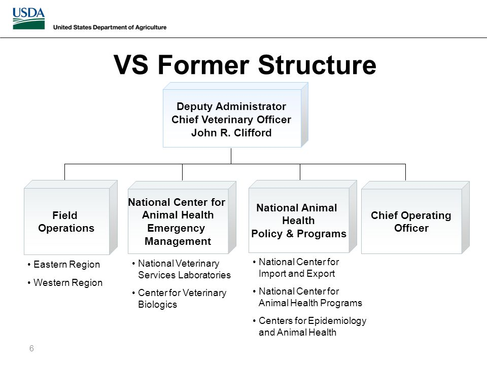 VS Former Structure 6 Deputy Administrator Chief Veterinary Officer John R.