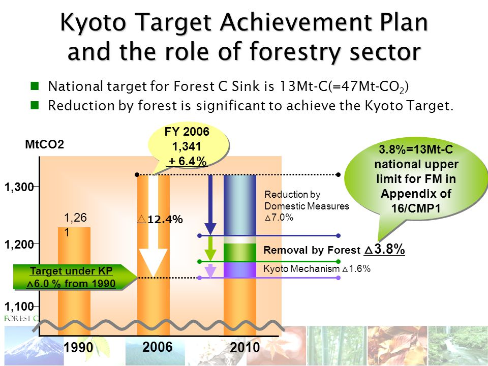 MtCO2 Kyoto Target Achievement Plan and the role of forestry sector ,300 1,200 1,100 1, Target under KP △ 6.0 % from 1990 Target under KP △ 6.0 % from △ 12.4 % Reduction by Domestic Measures △ 7.0% FY ,341 + 6.4 % Kyoto Mechanism △ 1.6% 3.8%=13Mt-C national upper limit for FM in Appendix of 16/CMP1 3.8%=13Mt-C national upper limit for FM in Appendix of 16/CMP1 Removal by Forest △ 3.8% National target for Forest C Sink is 13Mt-C(=47Mt-CO 2 ) Reduction by forest is significant to achieve the Kyoto Target.