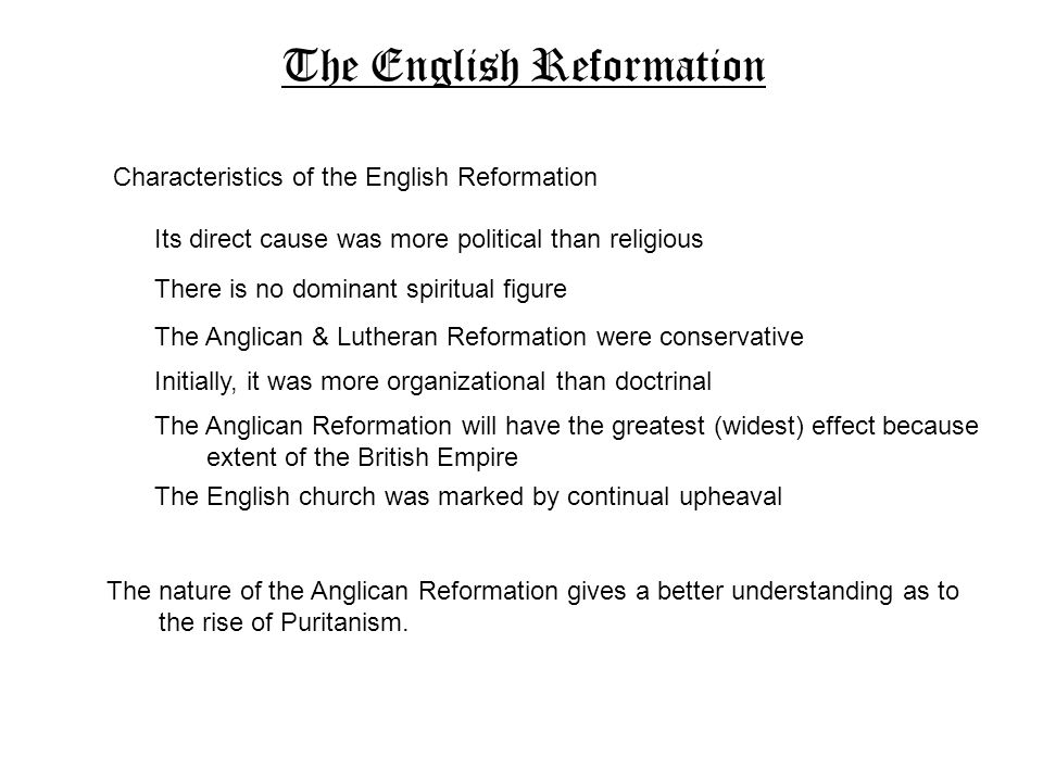 reformation dates