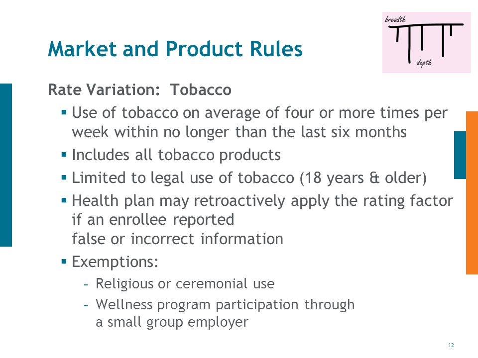 12 Market and Product Rules Rate Variation: Tobacco  Use of tobacco on average of four or more times per week within no longer than the last six months  Includes all tobacco products  Limited to legal use of tobacco (18 years & older)  Health plan may retroactively apply the rating factor if an enrollee reported false or incorrect information  Exemptions: - Religious or ceremonial use - Wellness program participation through a small group employer