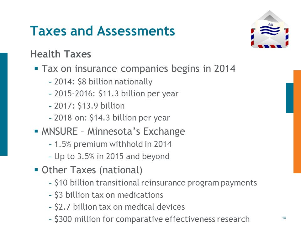 18 Taxes and Assessments Health Taxes  Tax on insurance companies begins in : $8 billion nationally : $11.3 billion per year : $13.9 billion on: $14.3 billion per year  MNSURE – Minnesota's Exchange - 1.5% premium withhold in Up to 3.5% in 2015 and beyond  Other Taxes (national) - $10 billion transitional reinsurance program payments - $3 billion tax on medications - $2.7 billion tax on medical devices - $300 million for comparative effectiveness research
