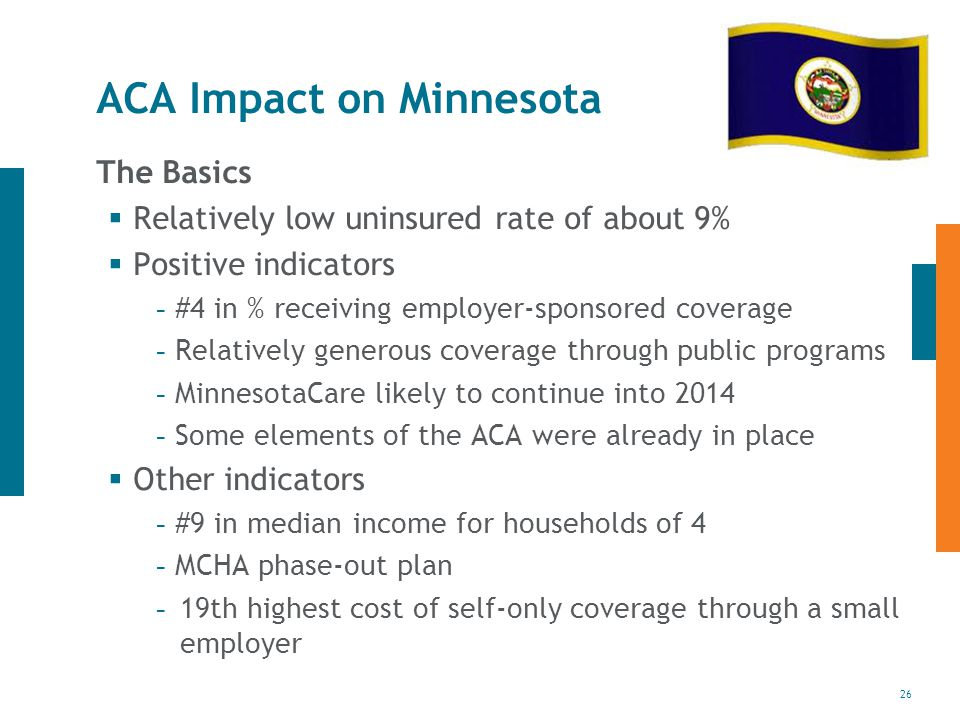26 ACA Impact on Minnesota The Basics  Relatively low uninsured rate of about 9%  Positive indicators - #4 in % receiving employer-sponsored coverage - Relatively generous coverage through public programs - MinnesotaCare likely to continue into Some elements of the ACA were already in place  Other indicators - #9 in median income for households of 4 - MCHA phase-out plan - 19th highest cost of self-only coverage through a small employer