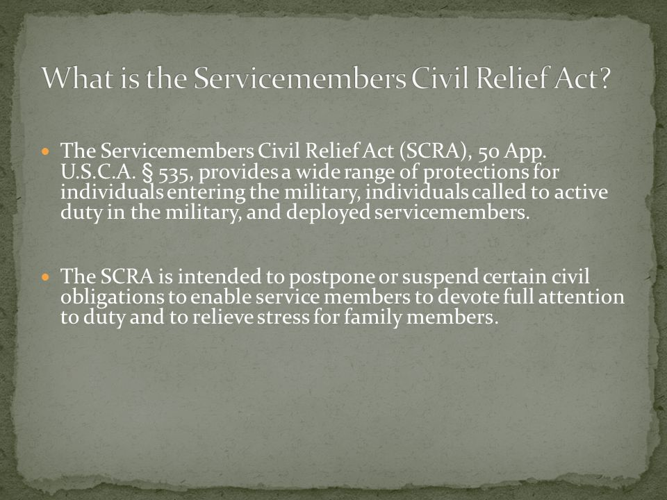 Presented By Chelsey M Golightly The Servicemembers Civil Relief