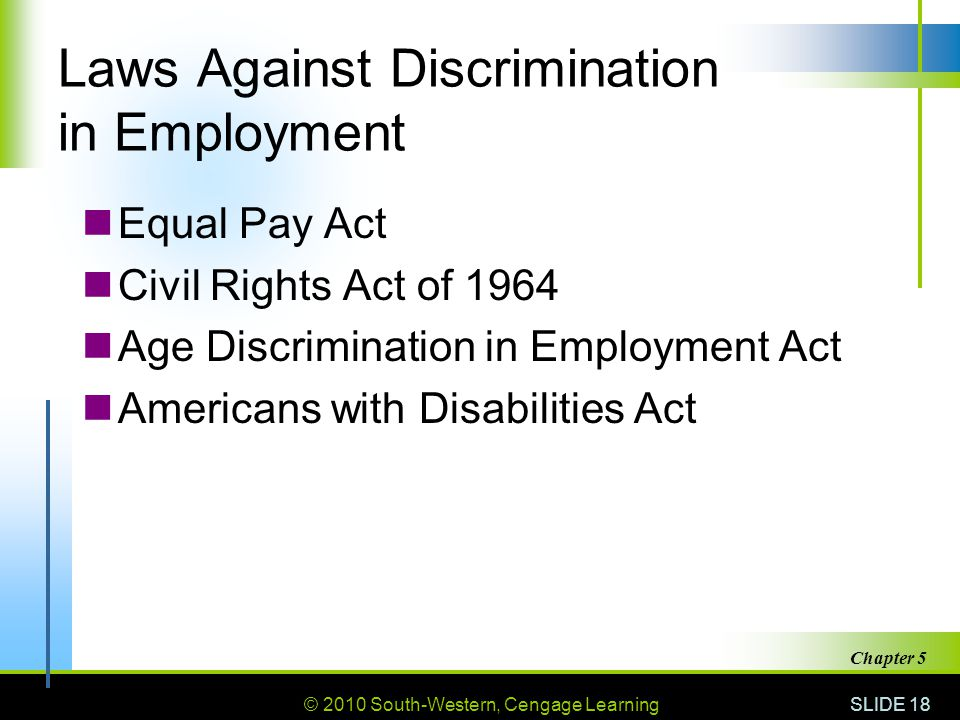 © 2010 South-Western, Cengage Learning SLIDE 18 Chapter 5 Laws Against Discrimination in Employment Equal Pay Act Civil Rights Act of 1964 Age Discrimination in Employment Act Americans with Disabilities Act