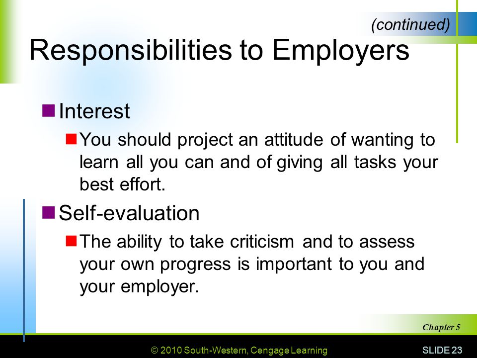 © 2010 South-Western, Cengage Learning SLIDE 23 Chapter 5 Responsibilities to Employers Interest You should project an attitude of wanting to learn all you can and of giving all tasks your best effort.
