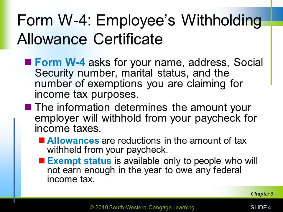 © 2010 South-Western, Cengage Learning SLIDE 4 Chapter 5 Form W-4: Employee's Withholding Allowance Certificate Form W-4 asks for your name, address, Social Security number, marital status, and the number of exemptions you are claiming for income tax purposes.