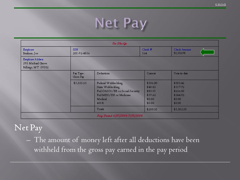 G Net Pay –The amount of money left after all deductions have been withheld from the gross pay earned in the pay period
