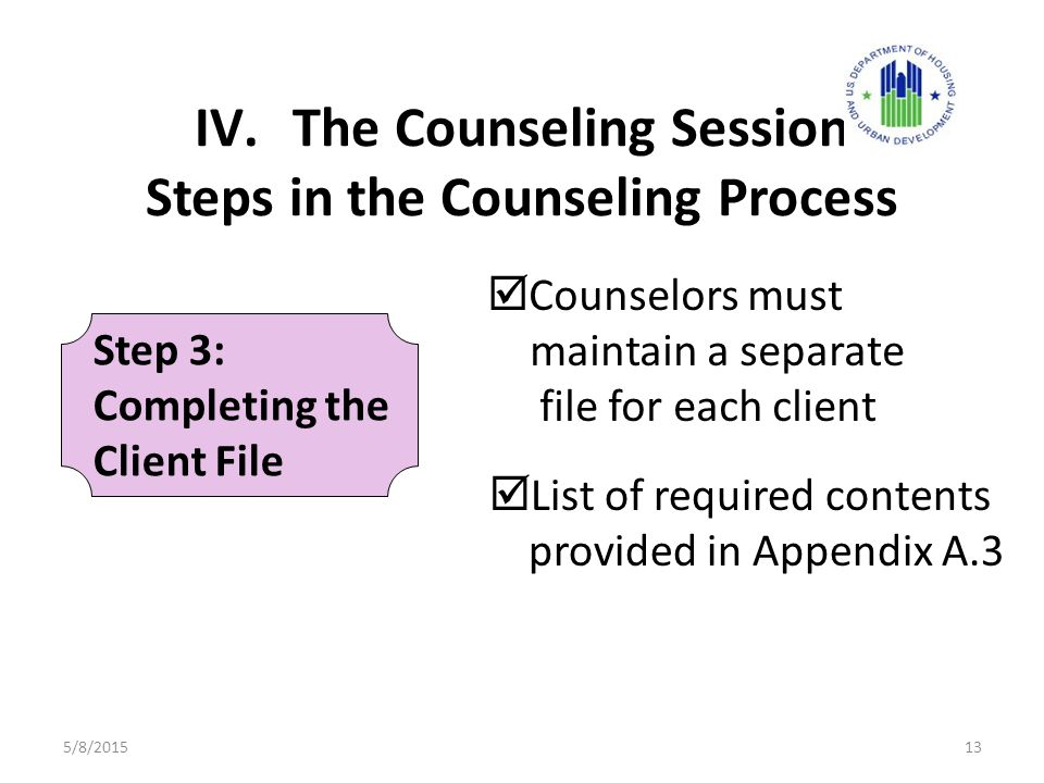 IV.The Counseling Session Steps in the Counseling Process  List of required contents provided in Appendix A.3 Step 3: Completing the Client File  Counselors must maintain a separate file for each client 5/8/201513