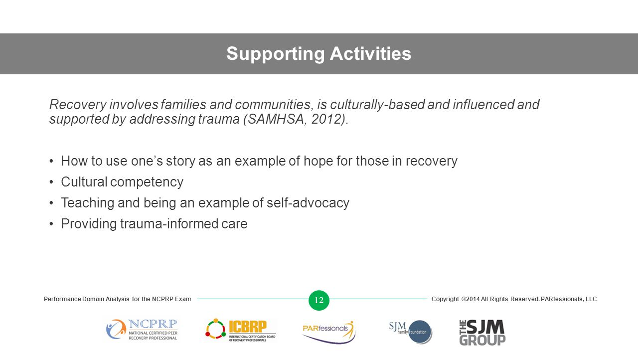 Supporting Activities Recovery involves families and communities, is culturally-based and influenced and supported by addressing trauma (SAMHSA, 2012).