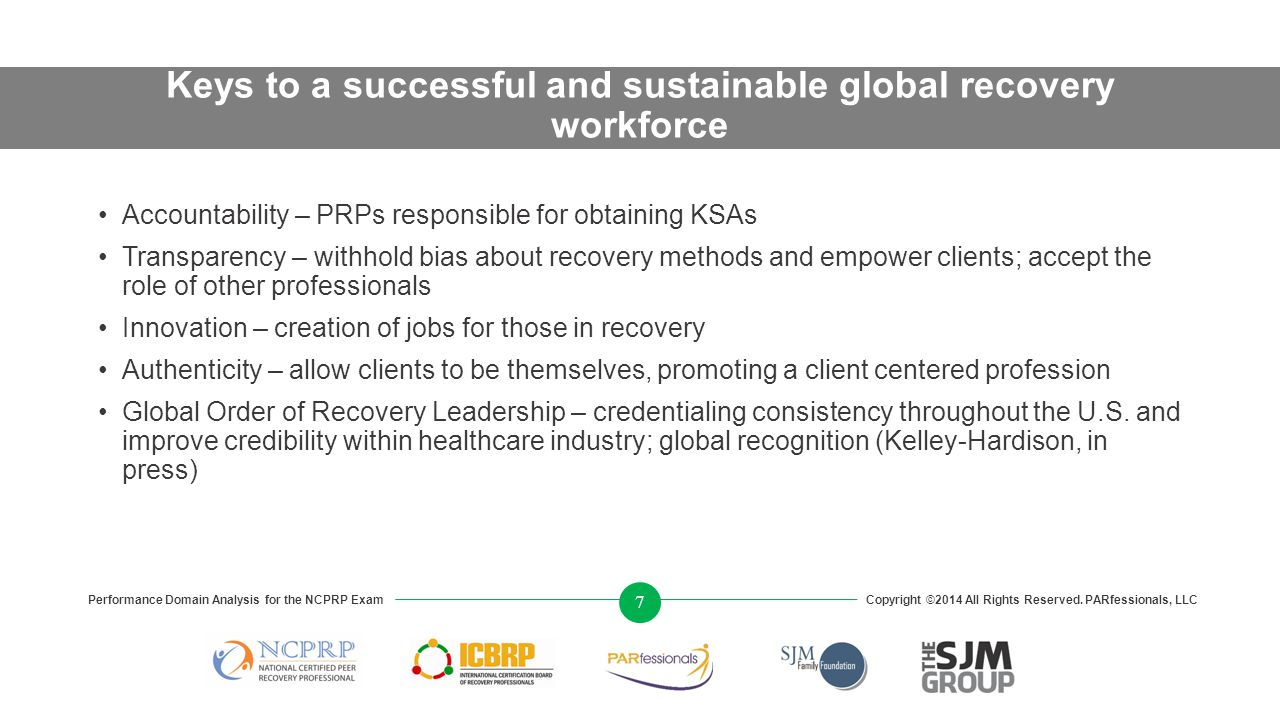 Keys to a successful and sustainable global recovery workforce Accountability – PRPs responsible for obtaining KSAs Transparency – withhold bias about recovery methods and empower clients; accept the role of other professionals Innovation – creation of jobs for those in recovery Authenticity – allow clients to be themselves, promoting a client centered profession Global Order of Recovery Leadership – credentialing consistency throughout the U.S.