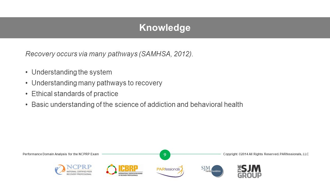 Knowledge Recovery occurs via many pathways (SAMHSA, 2012).