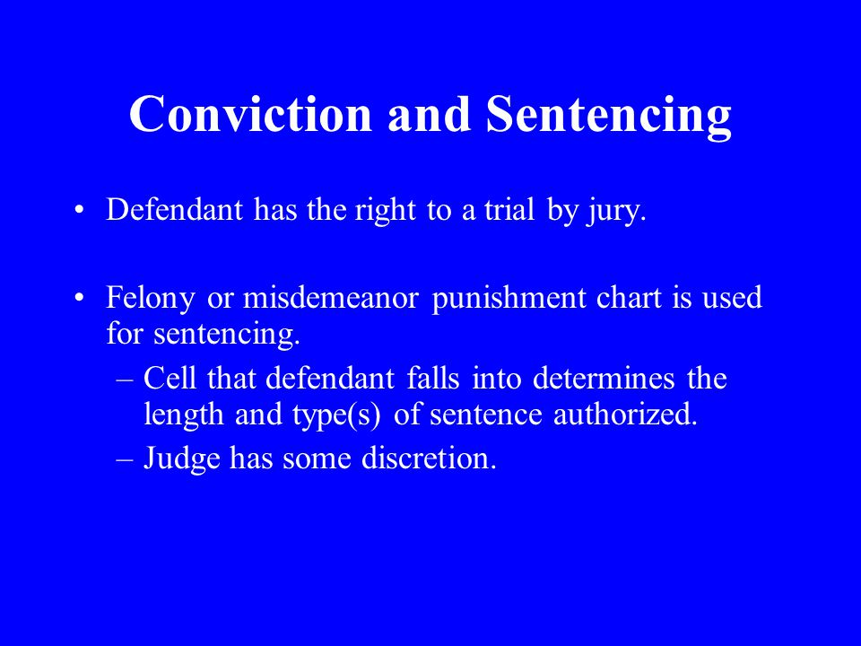 Conviction and Sentencing Defendant has the right to a trial by jury.