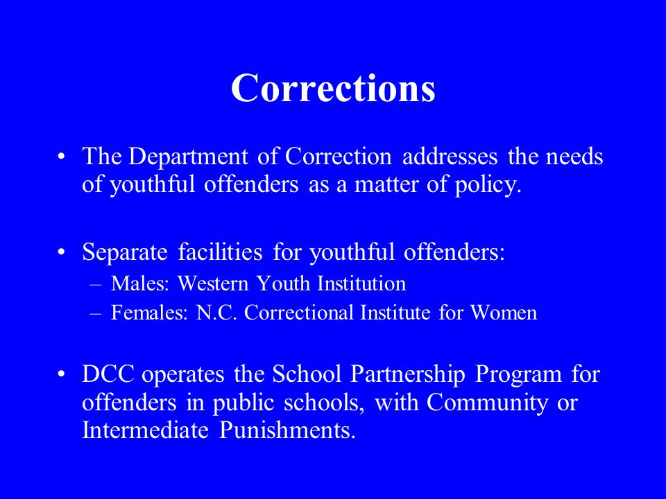 Corrections The Department of Correction addresses the needs of youthful offenders as a matter of policy.