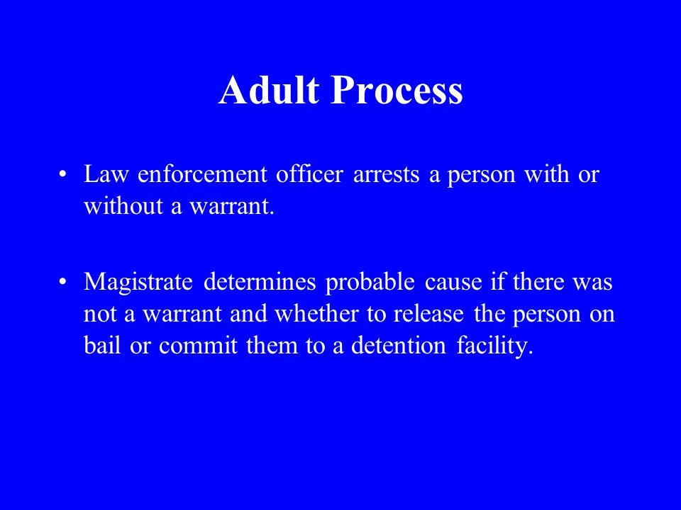 Adult Process Law enforcement officer arrests a person with or without a warrant.