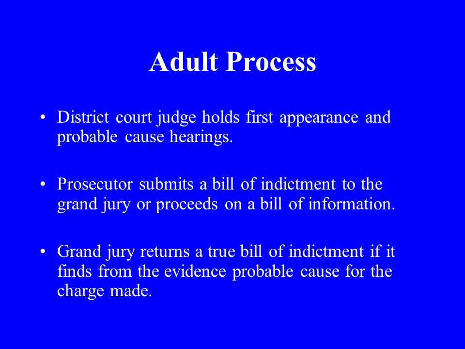Adult Process District court judge holds first appearance and probable cause hearings.