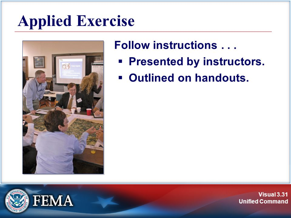 Visual 3.31 Unified Command Applied Exercise Follow instructions...