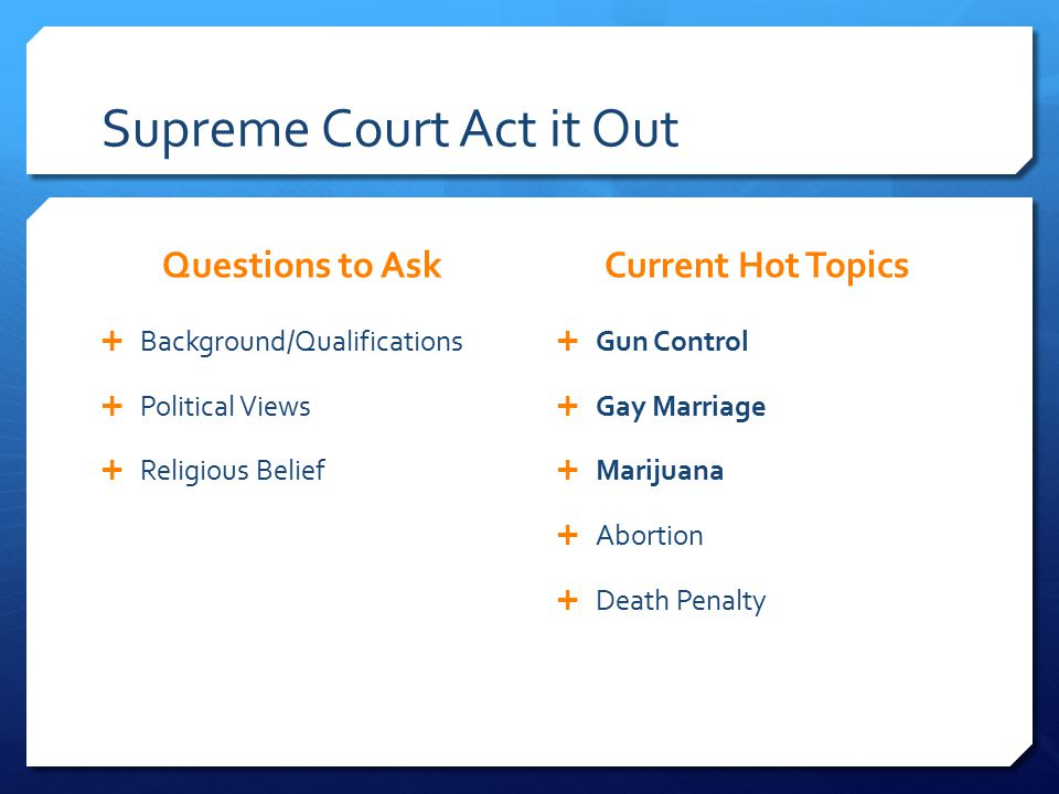 Supreme Court Act it Out Questions to Ask  Background/Qualifications  Political Views  Religious Belief Current Hot Topics  Gun Control  Gay Marriage  Marijuana  Abortion  Death Penalty