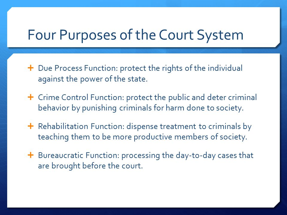 Four Purposes of the Court System  Due Process Function: protect the rights of the individual against the power of the state.