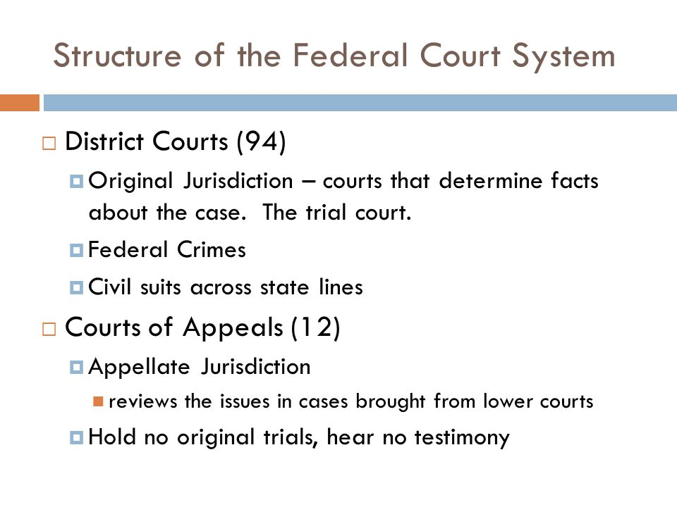 Structure of the Federal Court System  District Courts (94)  Original Jurisdiction – courts that determine facts about the case.