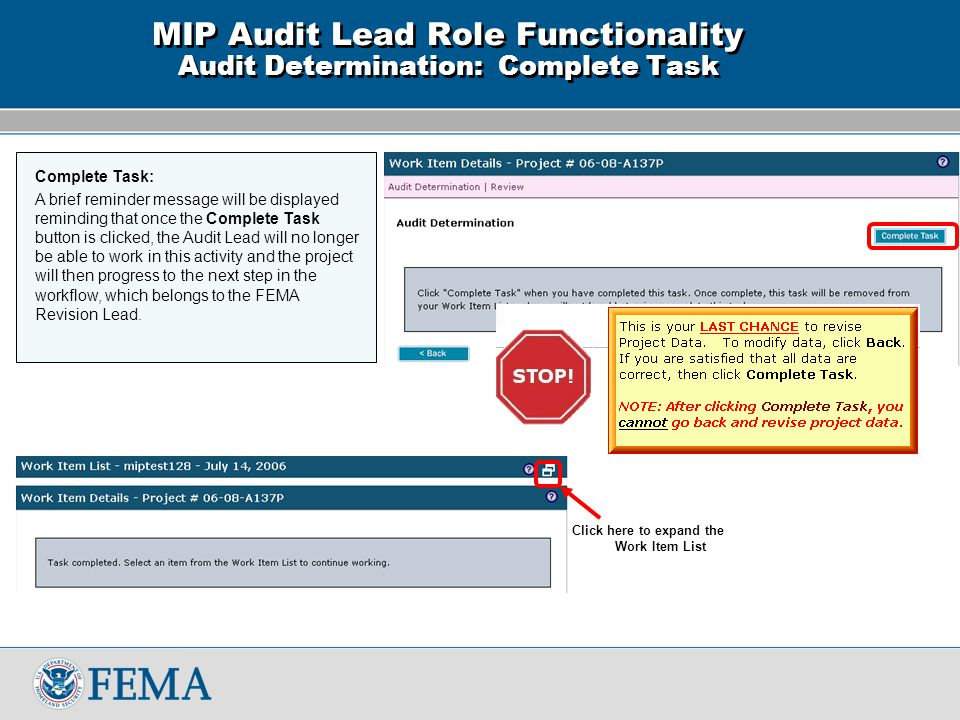 MIP Workbench: Revisions FEMA Learning Management System Audit Lead