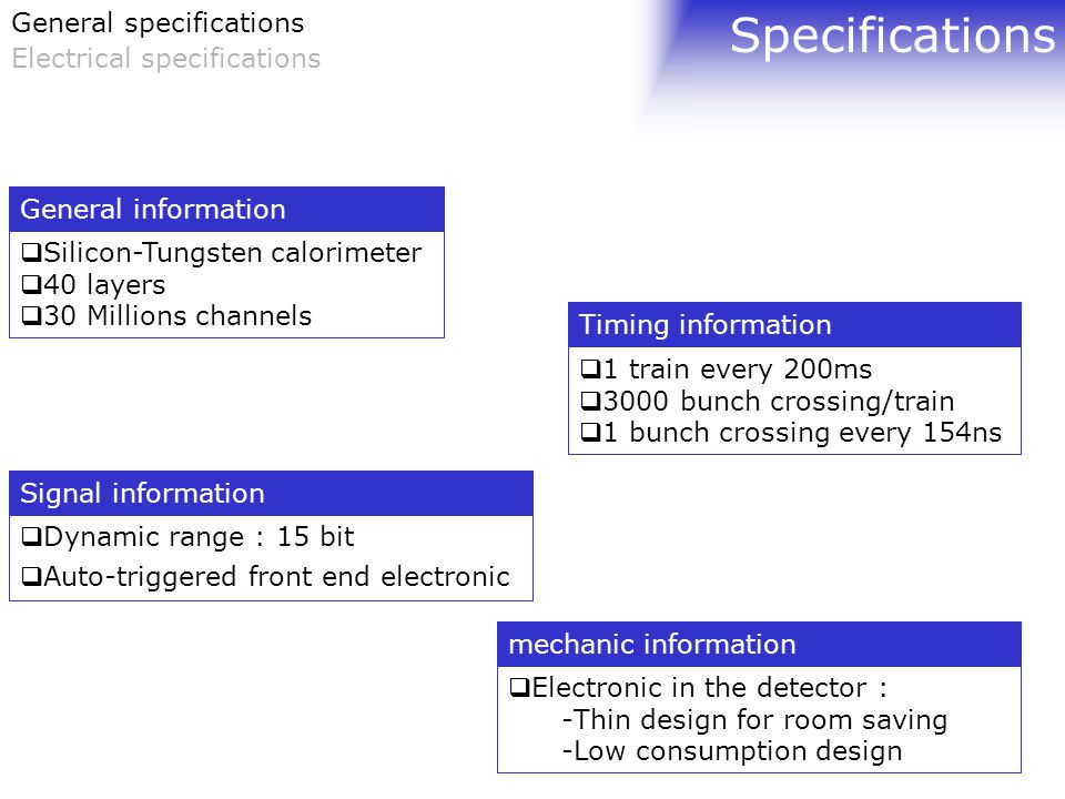 Specifications  Silicon-Tungsten calorimeter  40 layers  30 Millions channels General information  1 train every 200ms  3000 bunch crossing/train  1 bunch crossing every 154ns Timing information  Dynamic range : 15 bit  Auto-triggered front end electronic Signal information  Electronic in the detector : -Thin design for room saving -Low consumption design mechanic information General specifications Electrical specifications