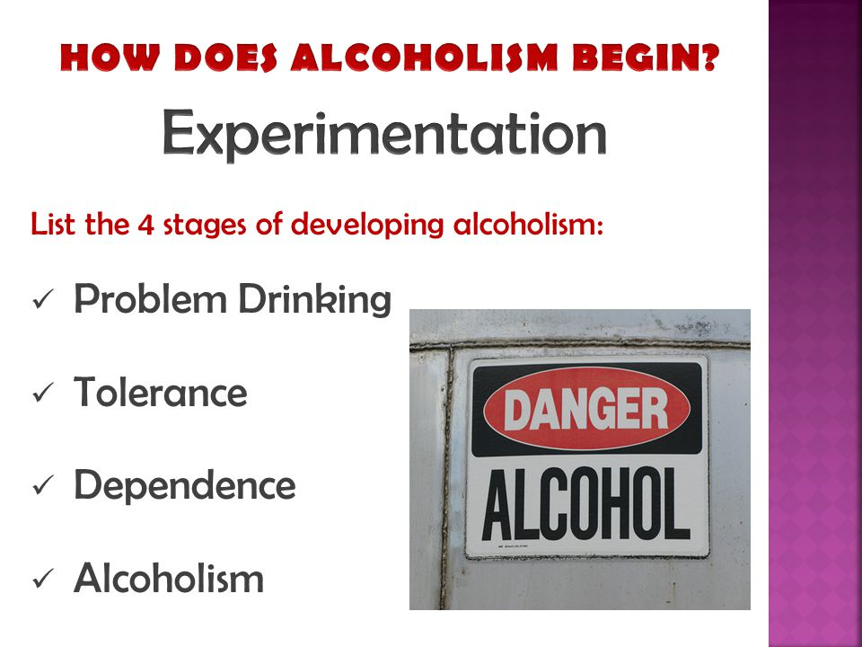 List the 4 stages of developing alcoholism: Problem Drinking Tolerance Dependence Alcoholism