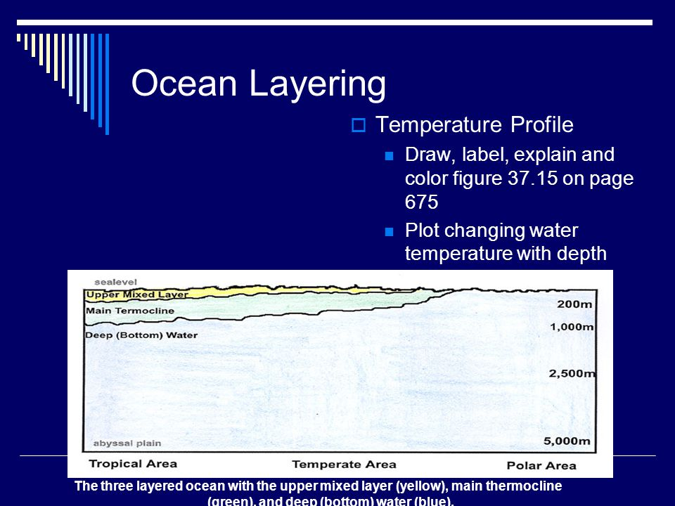 Ocean Layering  Temperature Profile Draw, label, explain and color figure on page 675 Plot changing water temperature with depth The three layered ocean with the upper mixed layer (yellow), main thermocline (green), and deep (bottom) water (blue).