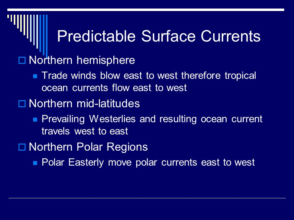 Predictable Surface Currents  Northern hemisphere Trade winds blow east to west therefore tropical ocean currents flow east to west  Northern mid-latitudes Prevailing Westerlies and resulting ocean current travels west to east  Northern Polar Regions Polar Easterly move polar currents east to west