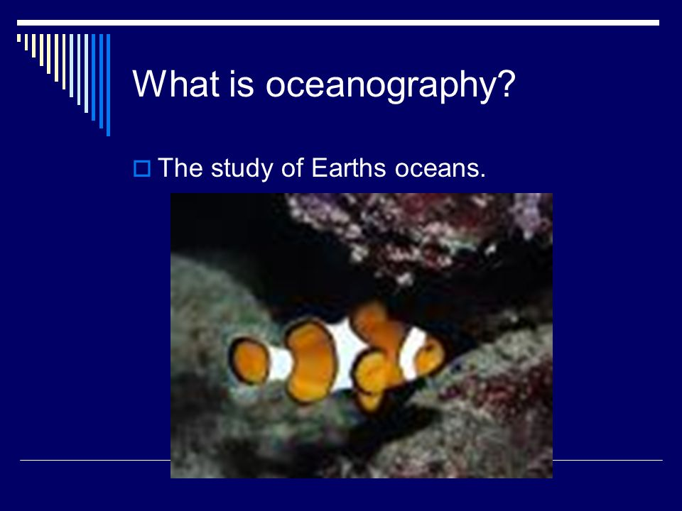 What is oceanography  The study of Earths oceans.