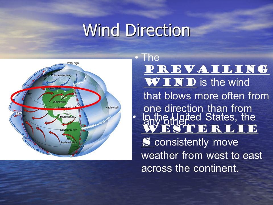 Wind Direction The PREVAILING WIND is the wind that blows more often from one direction than from any other.