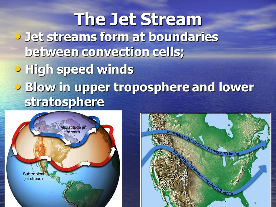 The Jet Stream Jet streams form at boundaries between convection cells; Jet streams form at boundaries between convection cells; High speed winds High speed winds Blow in upper troposphere and lower stratosphere Blow in upper troposphere and lower stratosphere