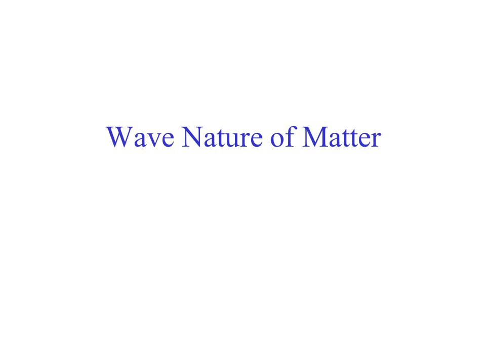 Wave Nature of Matter