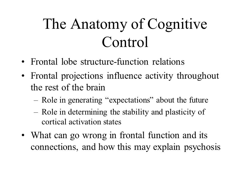 The Anatomy of Cognitive Control Frontal lobe structure-function relations Frontal projections influence activity throughout the rest of the brain –Role in generating expectations about the future –Role in determining the stability and plasticity of cortical activation states What can go wrong in frontal function and its connections, and how this may explain psychosis
