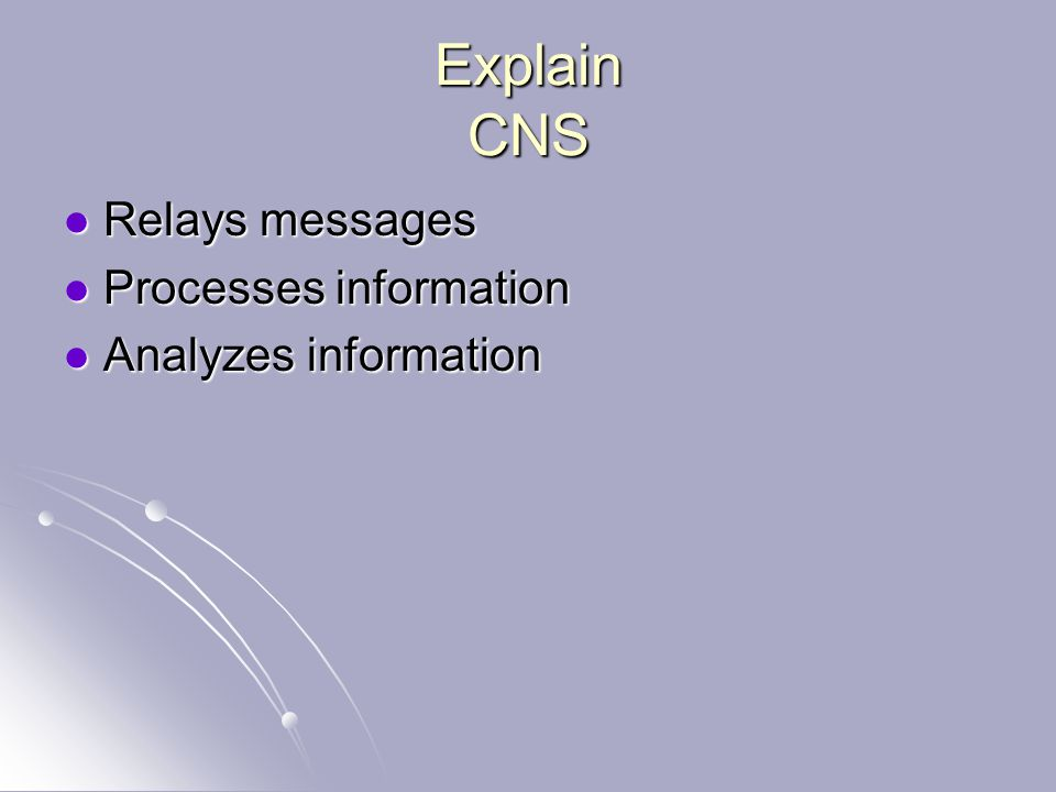 Explain CNS Relays messages Relays messages Processes information Processes information Analyzes information Analyzes information